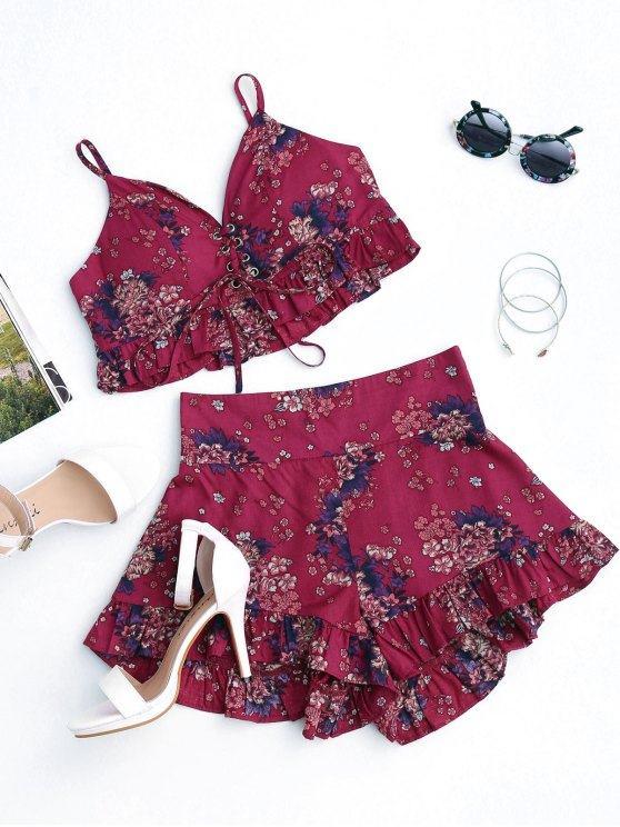 womens Floral Lace Up Cropped Top and Smocked Ruffles Shorts - FLORAL S
