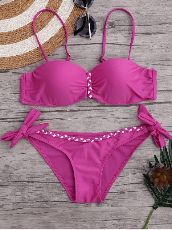 Ensemble de bikini en moulé tressé en fil métallique - Rose M