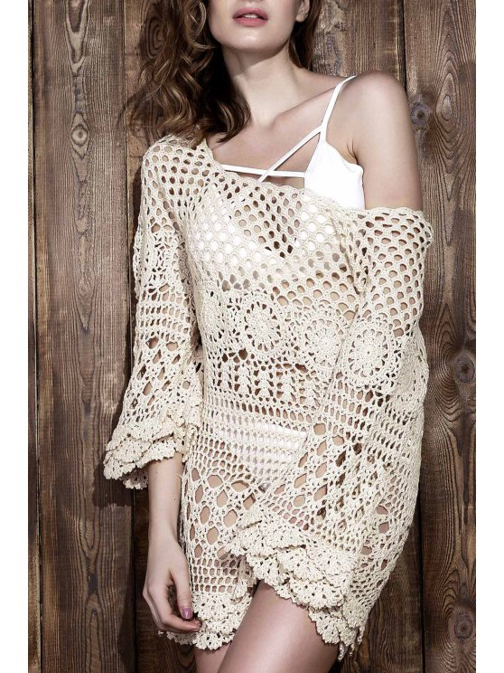 sale Crochet Cut Out Cover Up - OFF-WHITE ONE SIZE