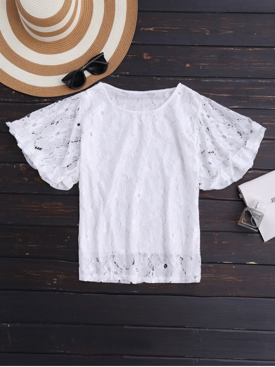 latest Flutter Sleeve Floral Lace Top - WHITE ONE SIZE