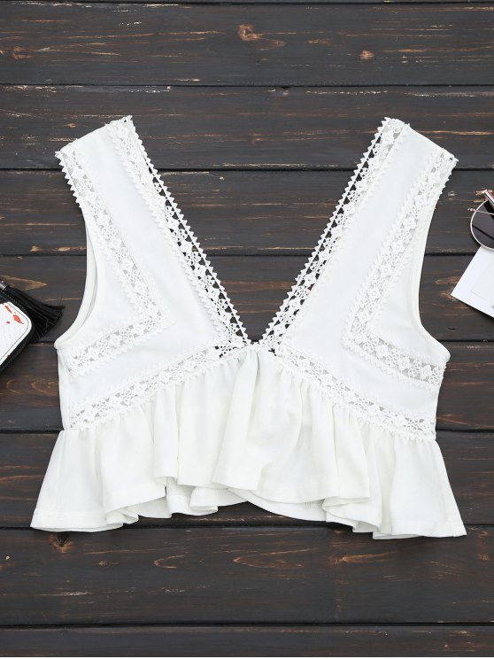chic Ruffles Lace Trim Cropped Tank Top - WHITE S