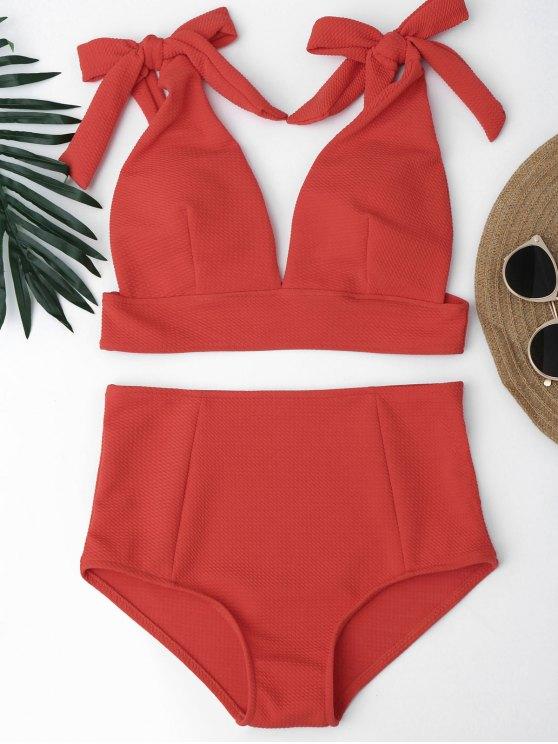 Bikini con Cintura Alta con Cuello en V con Nudos - Rojo M