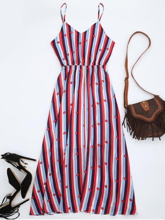 Vestido de seda con rayas Midi Sundress - Multicolor S