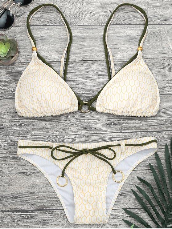 Anillos de impresión de mosaico Strappy Bikini Set - Amarillo M