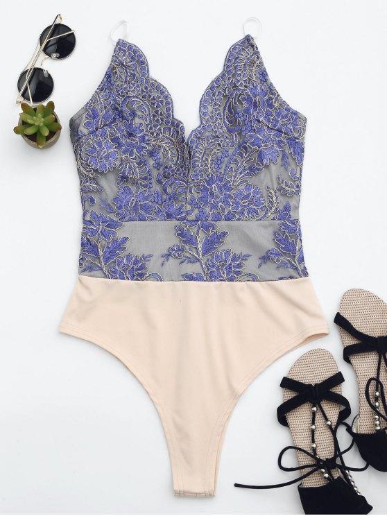 Maillot de bain brodé à une coupe haute couture - Bleu XS