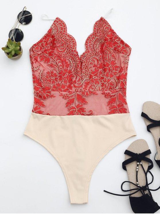 Maillot de bain brodé à une coupe haute couture - Rouge XS