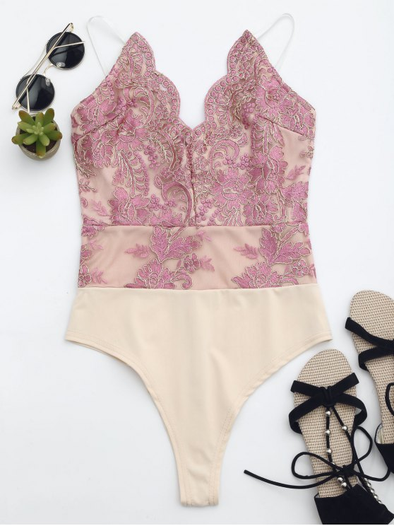 women High Cut Embroidered One Piece Swimsuit - PINK L