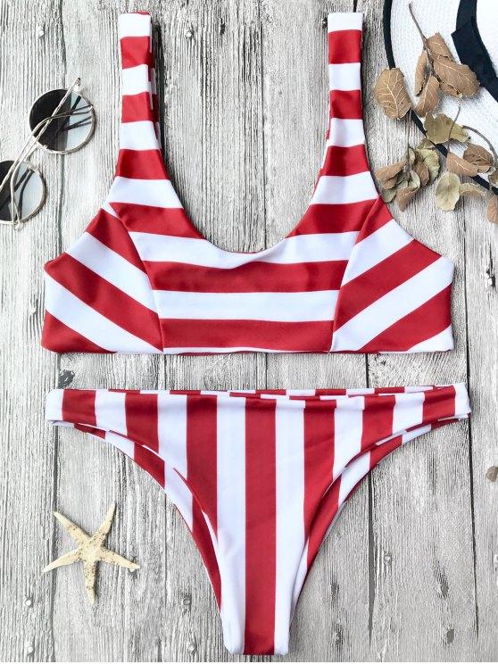 Top et bas de bikini à rayures - Rouge et Blanc S