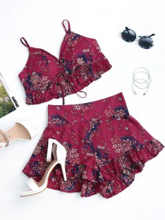 Floral Lace Up Cropped Top And Smocked Ruffles Shorts - Floral M