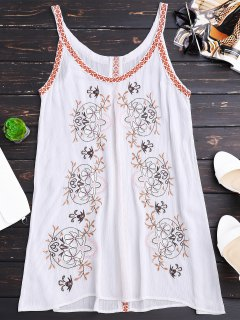 Creased Embroidered Straps Dress - White M