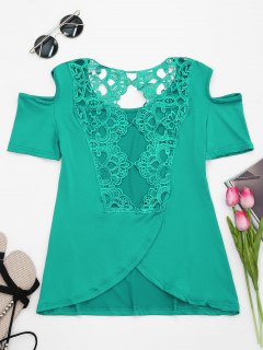 Lace Back Cold Shoulder T-shirt - Green 2xl