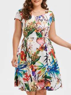 Print Cap Sleeve Plus Size Flare Dress - Floral 2xl