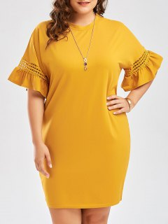 Plus Size Flare Sleeve Cutout Cocoon Tee Dress - Ginger 5xl