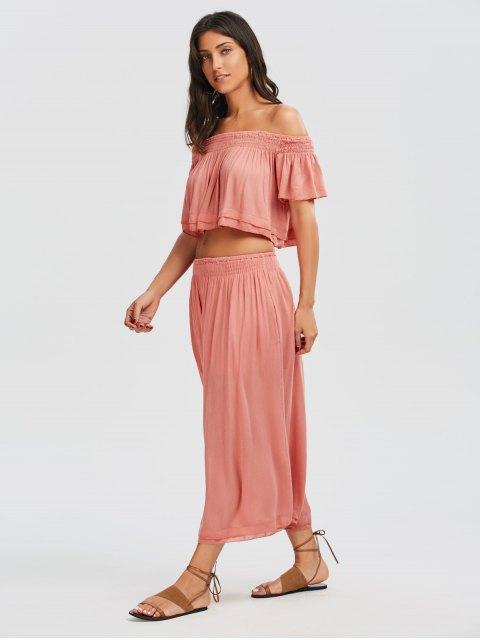 shops Off Shoulder Top and Wide Leg Capri Pants - PAPAYA M Mobile