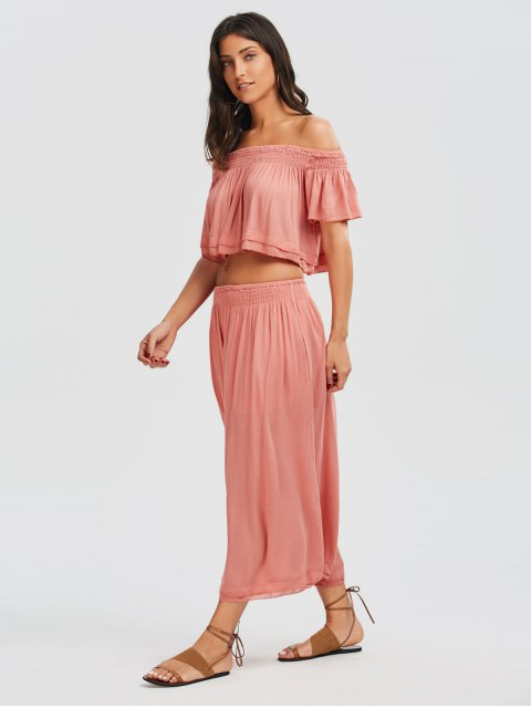 latest Off Shoulder Top and Wide Leg Capri Pants - PAPAYA L Mobile