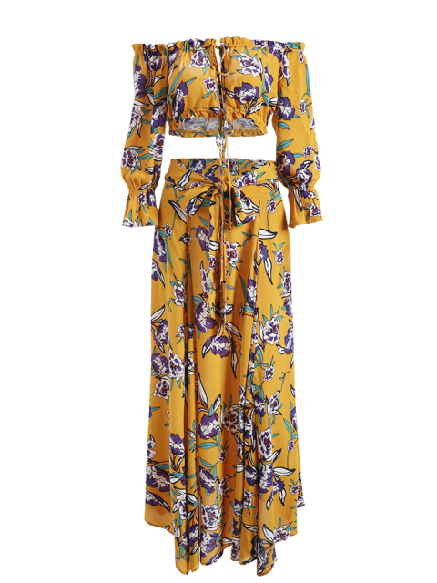 latest String Floral Cropped Top and Belted Maxi A-Line Skirt - FLORAL L Mobile