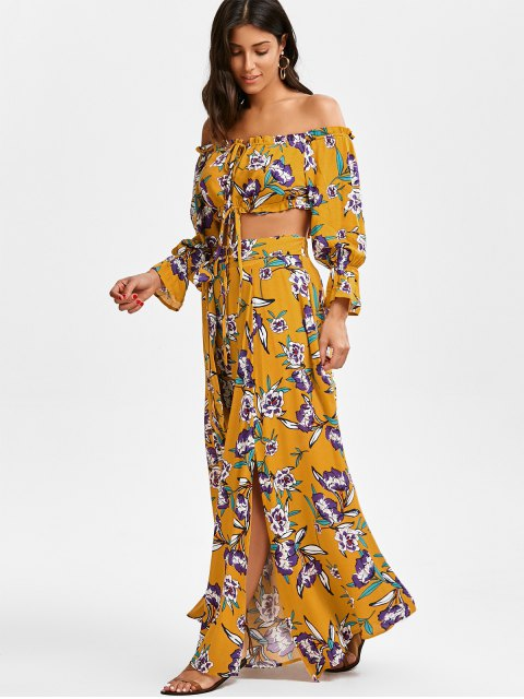 trendy String Floral Cropped Top and Belted Maxi A-Line Skirt - FLORAL M Mobile