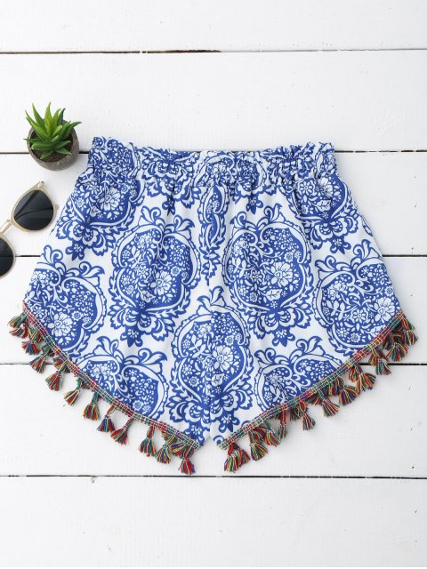 new Printed Ethnic Tassels Shorts - BLUE AND WHITE S Mobile