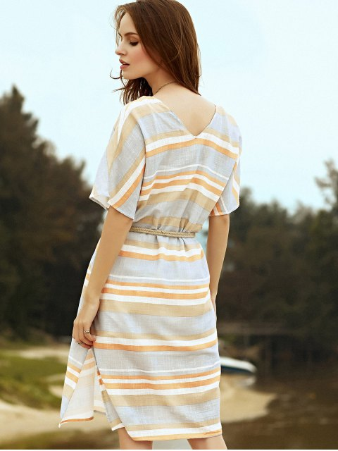 outfit Belted Striped Plunging Neck Short Sleeve Dress - GRAY L Mobile