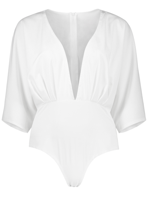 fashion Solid Color Waisted Corset Plunging Neck Bat-Wing Sleeve Playsuit - WHITE XL Mobile