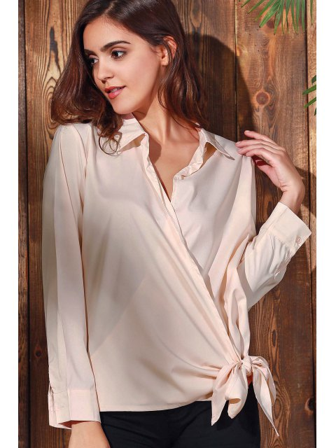 lady Solid Color Shirt Collar Long Sleeve Knotted Blouse - PINK L Mobile