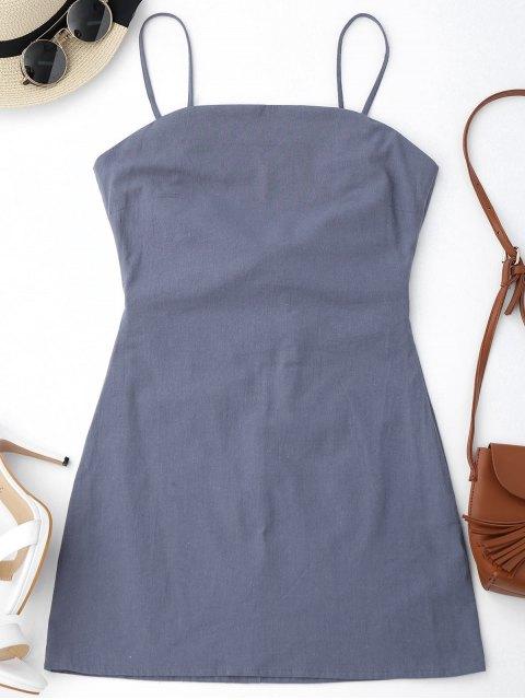 shop High Cut Bowknot Mini Slip Dress - GRAY L Mobile