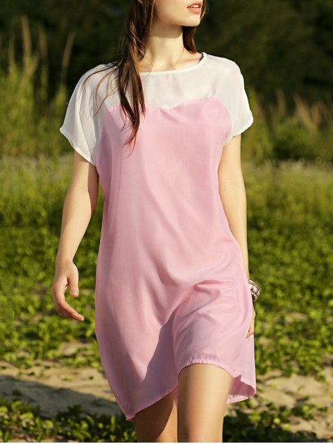 fashion Batwing Sleeve Two-Tone Dress - PINK S Mobile