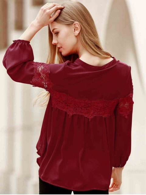 latest Lace Splicing V Neck Lantern Sleeve Blouse - RED S Mobile