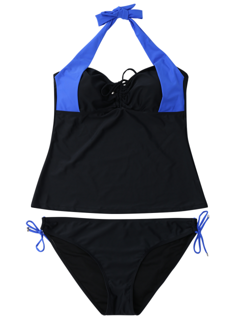 affordable Tankini Top and Loop Tie Side Bottoms - BLUE AND BLACK M Mobile