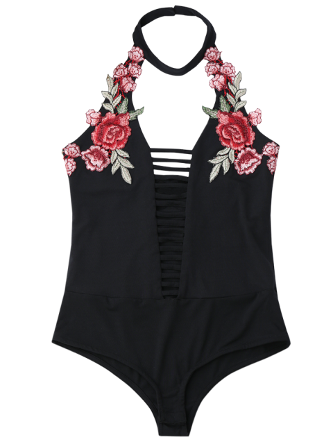 women Floral Patched Choker Cut Out Bodysuit - BLACK 2XL Mobile