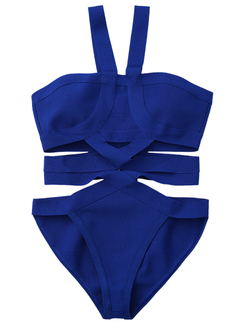 fashion Solid Color Cut Out Straps One-Piece Swimwear - BLUE S Mobile