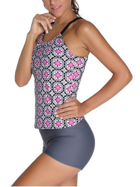 fancy Padded Printed Tankini with Boxers - GRAY S Mobile