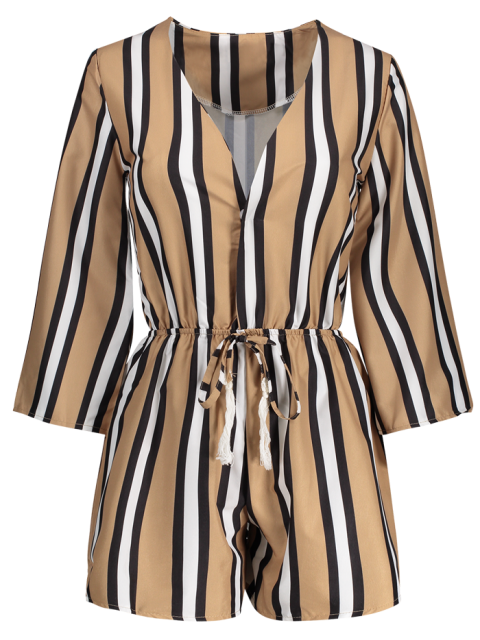 buy Striped Plunging Neck 3/4 Sleeve Drawstring Romper - KHAKI XL Mobile