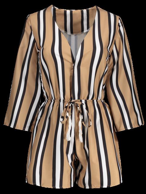 sale Striped Plunging Neck 3/4 Sleeve Drawstring Romper - KHAKI M Mobile