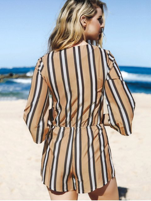unique Striped Plunging Neck 3/4 Sleeve Drawstring Romper - KHAKI S Mobile