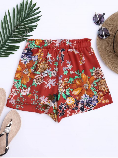 unique Bohemian Drawstring Floral Shorts - JACINTH L Mobile