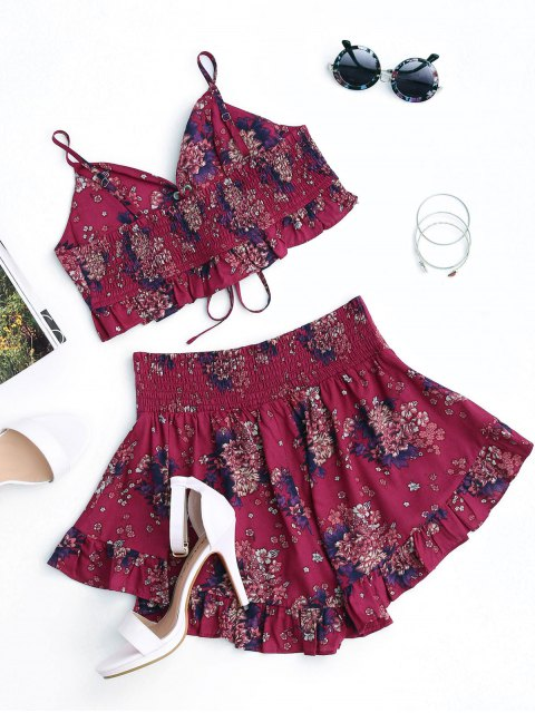 womens Floral Lace Up Cropped Top and Smocked Ruffles Shorts - FLORAL S Mobile