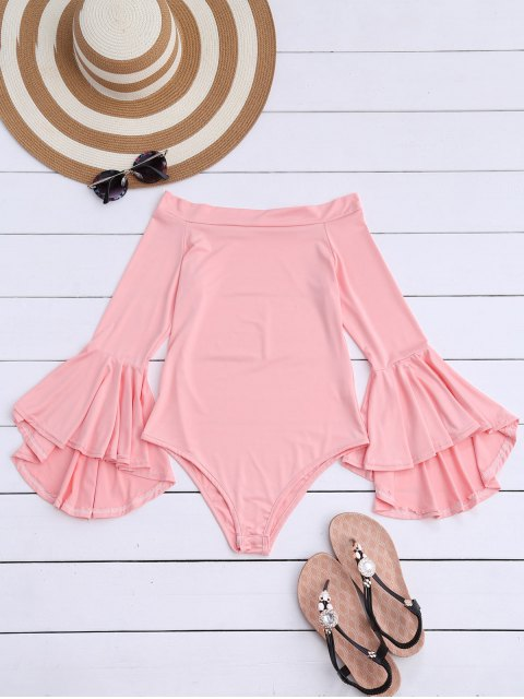 best Trumpet Sleeve Off The Shoulder Bodysuit - PINK S Mobile