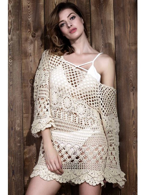 sale Crochet Cut Out Cover Up - OFF-WHITE ONE SIZE Mobile