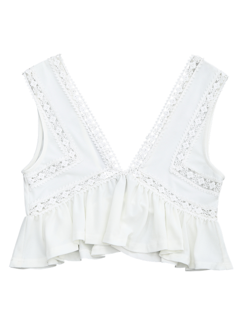 chic Ruffles Lace Trim Cropped Tank Top - WHITE S Mobile
