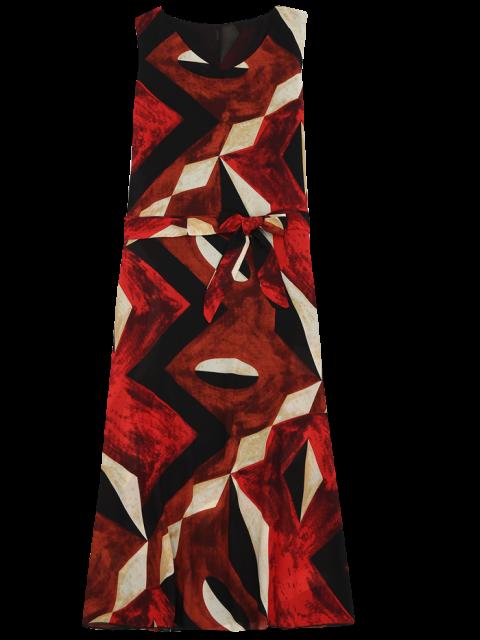 hot Midi Chiffon Geo Print Sundress - RED M Mobile