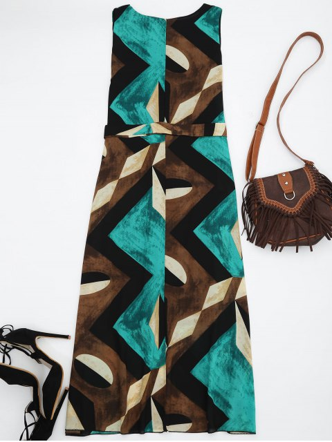 best Midi Chiffon Geo Print Sundress - GREEN L Mobile
