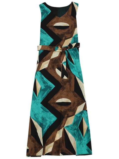 new Midi Chiffon Geo Print Sundress - GREEN S Mobile