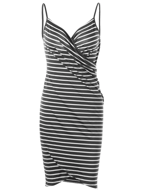 affordable Striped Open Back Cover-ups Dress - GRAY L Mobile