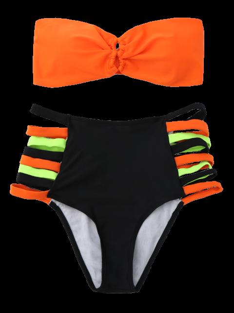 buy Strapless High-Waisted Bikini Set - ORANGE S Mobile