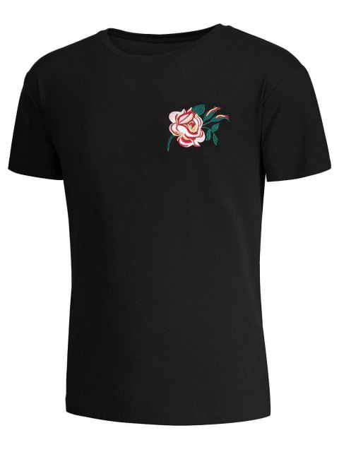 trendy Short Sleeve Floral Embroidered Tee - BLACK XL Mobile