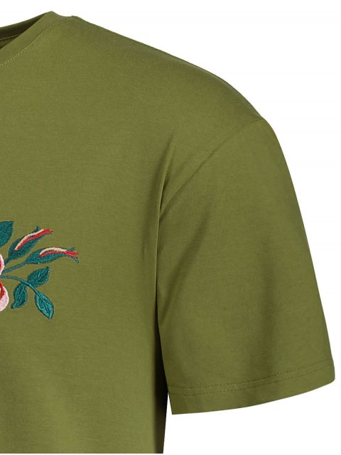 chic Short Sleeve Floral Embroidered Tee - ARMY GREEN 2XL Mobile