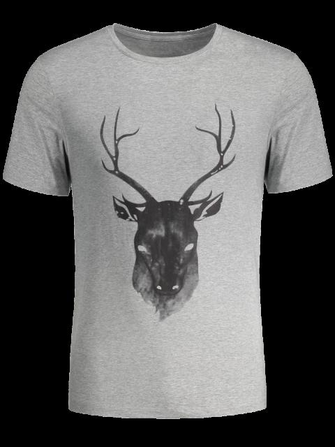 best Short Sleeve Reindeer Printed Tee - GRAY L Mobile