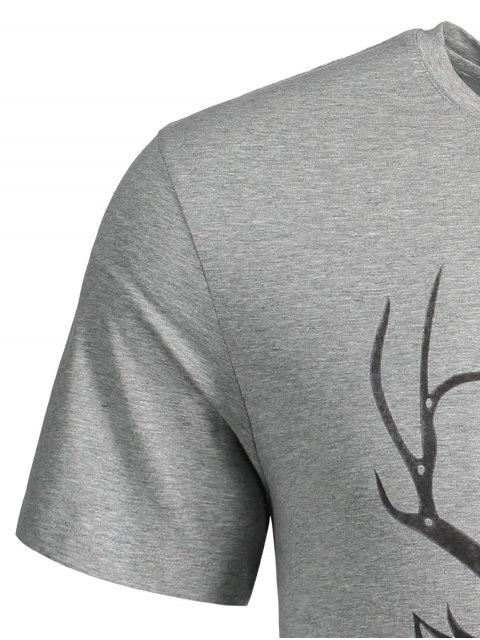 online Short Sleeve Reindeer Printed Tee - GRAY XL Mobile