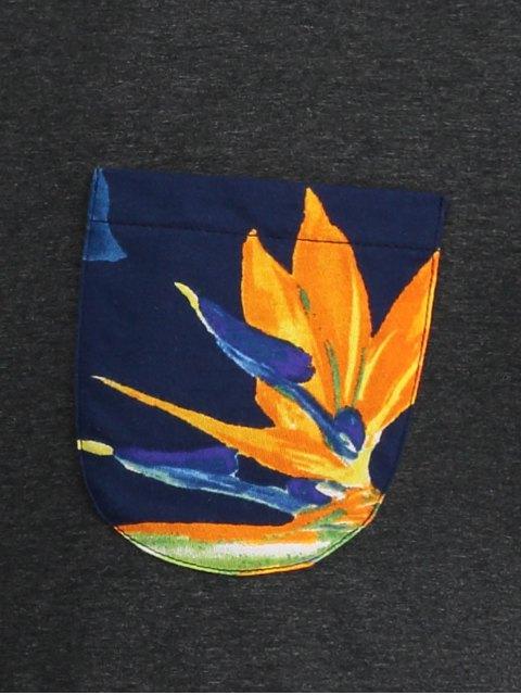 hot Floral Print Pocket Tee - DEEP GRAY L Mobile